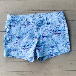 Old Navy pixie shorts 12 beach sailboat blue water